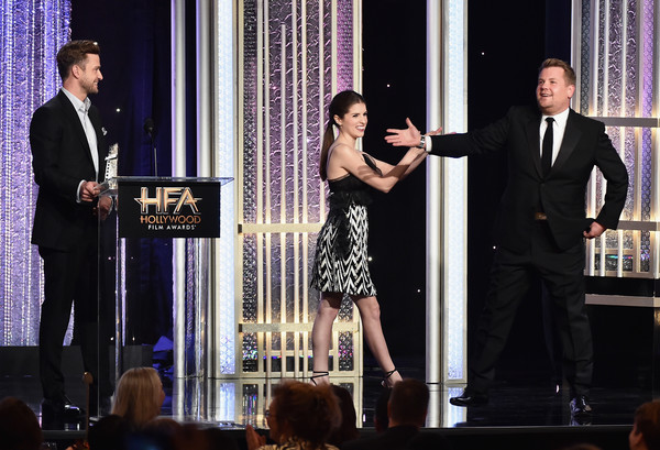 20th Annual Hollywood Film Awards - Show [event,performance,fashion,formal wear,performing arts,talent show,suit,dress,dance,award,justin timberlake,anna kendrick,james corden,recipient,feeling,l-r,hollywood song award,california,hollywood film awards - show,annual hollywood film awards]