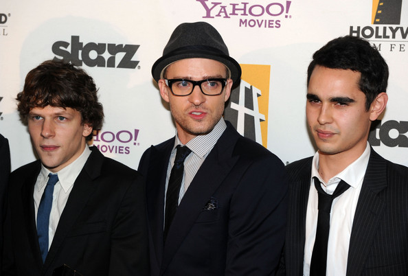 14th Annual Hollywood Awards Gala - Backstage [eyewear,premiere,event,white-collar worker,glasses,fashion accessory,suit,style,actors,max minghella,justin timberlake,jesse eisenberg,exclusive,l-r,annual hollywood awards gala - backstage,california,beverly hills,hollywood awards gala]