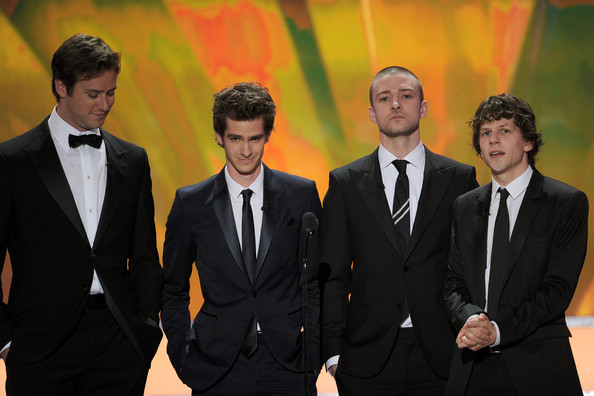 17th Annual Screen Actors Guild Awards - Show [suit,formal wear,tuxedo,event,white-collar worker,gesture,actors,jesse eisenberg,justin timberlake,andrew garfield,armie hammer,l-r,the shrine auditorium,los angeles,screen actors guild awards,show]