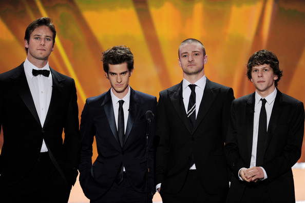 17th Annual Screen Actors Guild Awards - Show [suit,formal wear,tuxedo,gentleman,white collar worker,businessperson,actors,jesse eisenberg,justin timberlake,andrew garfield,armie hammer,l-r,the shrine auditorium,los angeles,screen actors guild awards,show]