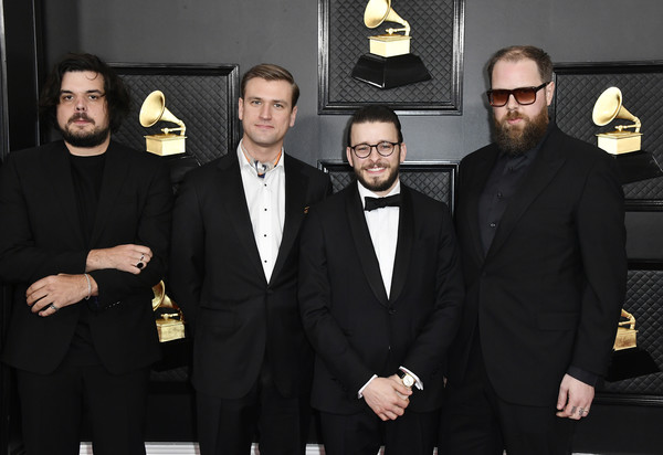 62nd Annual GRAMMY Awards – Arrivals [bon iver,suit,formal wear,tuxedo,event,facial hair,members,staples center,los angeles,california,music group,annual grammy awards,justin vernon,54th annual grammy awards,staples center,bon iver,wisconsin,getty images,stock photography,musician,photograph]