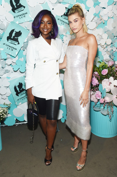Tiffany & Co. Paper Flowers Event And Believe In Dreams Campaign Launch [white,clothing,shoulder,fashion,dress,cocktail dress,event,fashion design,fun,formal wear,hailey baldwin,justine skye,believe in dreams campaign launch,paper,fashion,tiffany co,l,paper flowers event,event,campaign launch,kendall jenner,hailey rhode bieber,tv personality,paper,supermodel,model,celebrity]
