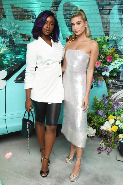 Tiffany & Co. Paper Flowers Event And Believe In Dreams Campaign Launch [stock photography,white,shoulder,clothing,dress,fashion,cocktail dress,joint,leg,event,fashion design,hailey baldwin,justine skye,believe in dreams campaign launch,tv personality,tiffany co,l,paper flowers event,event,campaign launch,hailey rhode bieber,tiffany co.,kendall jenner,photograph,stock photography,tv personality,getty images,celebrity]