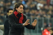 AC Milan head coach Filippo Inzaghi gestures during the Serie A match between Juventus FC and AC Milan at Juventus Arena on February 7, 2015 in Turin, Italy.