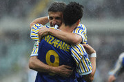 Davide Lanzafame of Parma FC celebrates his second goal with teammate Hernan Crespo during the Serie A match between Juventus FC and Parma FC at Stadio Olimpico di Torino on May 9, 2010 in Turin, Italy.