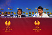 Antonio Conte,head coach of Juventus and goal keeper Gianluigi Buffon talk with the media during the press conference of SL Benfica prior to the UEFA Europa League semi final match between SL Benica and Juventus on April 23, 2014 in Lisbon, Portugal.