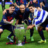 Luis Suarez Photos - (L-R) Lionel Messi, Javier Mascherano and Luis Suarez of Barcelona celebrate with the trophy after the UEFA Champions League Final between Juventus and FC Barcelona at Olympiastadion on June 6, 2015 in Berlin, Germany. - Juventus v FC Barcelona  - UEFA Champions League Final
