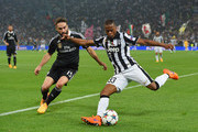 Patrice Evra of Juventus takes on Daniel Carvajal of Real Madrid CF during the UEFA Champions League semi final first leg match between Juventus and Real Madrid CF at Juventus Arena on May 5, 2015 in Turin, Italy.
