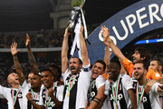 Giorgio Chiellini of Juventus lifts the trophy after winning the Italian Supercup match between Juventus and AC Milan at King Abdullah Sports City on January 16, 2019 in Jeddah, Saudi Arabia.