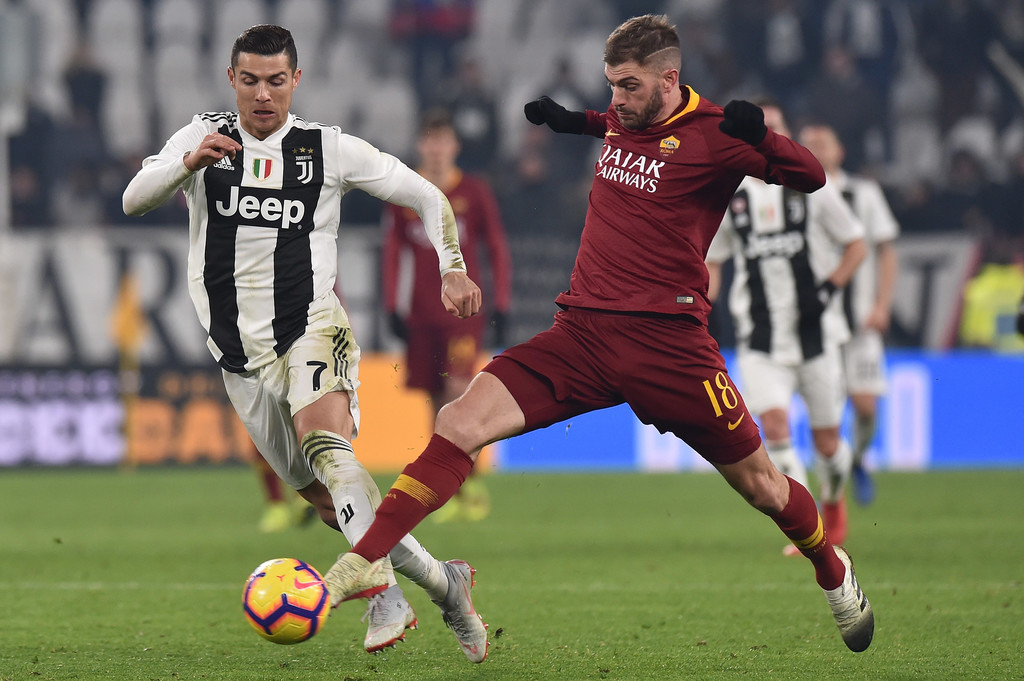 Cristiano Ronaldo And Davide Santon Photos Photos Juventus Vs As