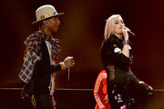 Recording artists Pharrell Williams (L) and Gwen Stefani (R) perform onstage during KIIS FM's Jingle Ball 2014  powered by LINE at Staples Center on December 5, 2014 in Los Angeles, California.