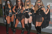 Leigh-Anne Pinnock, Jesy Nelson, Perrie Edwards and Jade Thirlwall from Little Mix attends the KISS FM Haunted House Party at SSE Arena on October 29, 2015 in London, England.