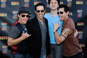 """(L-R) Deven May, Jeff Leibow, Rob Marnelle and Travis Cloer of """"The Jersey Boys"""" arrive at the grand opening of the KISS by Monster Mini Golf amusement attraction on March 15, 2012 in Las Vegas, Nevada."""