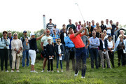 Ross Fisher of England plays his second shot on the 5th hole during day two of the KLM Open at The Dutch on September 14, 2018 in Spijk, Netherlands.