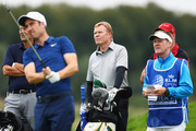 Netherlands football manager, Ronald Koeman (C) watches Ross Fisher of England play a shot during the ProAm prior to the KLM Open held at The Dutch golf course on September 12, 2018 in Spijk, Netherlands.