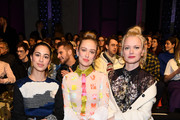Gizem Emre, Caro Cult and Franziska Knuppe attend the KXXK show during the Berlin Fashion Week Autumn/Winter 2019 at ewerk on January 15, 2019 in Berlin, Germany.