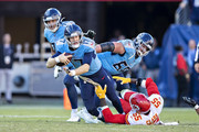 Ryan Tannehill #17 of the Tennessee Titans is tackled in the second half by Ben Niemann #56 of the Kansas City Chiefs at Nissan Stadium on November 10, 2019 in Nashville, Tennessee.  The Titans defeated the Chiefs 35-32.