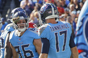 Anthony Firkser #86 of the Tennessee Titans celebrates with teammate Ryan Tannehill #17 after making a touchdown reception against the Kansas City Chiefs during the first half at Nissan Stadium on November 10, 2019 in Nashville, Tennessee.