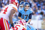 Ryan Tannehill #17 of the Tennessee Titans calls out the play during the second half of a game against the Kansas City Chiefs at Nissan Stadium on November 10, 2019 in Nashville, Tennessee.  The Titans defeated the Chiefs 35-32.