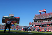 Quarterback Ryan Tannehill #17 of the Tennessee Titans hands off to running back Derrick Henry #22 of the Tennessee Titans against the Kansas City Chiefs in the second quarter at Nissan Stadium on November 10, 2019 in Nashville, Tennessee.