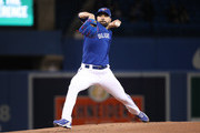 Jaime Garcia #57 of the Toronto Blue Jays delivers a pitch in the first inning during MLB game action against the Kansas City Royals at Rogers Centre on April 17, 2018 in Toronto, Canada.