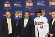 (L-R) Houston Astros General Manager Jeff Luhnow, Assistant G.M. and Dir. of Scouting Bobby Heck, right-handed pitcher Lance McCullers, who was selected in the compensation first round (41st overall) of the 2012 MLB First Year Player Draft, and agent Scott Boras during a press conference at Minute Maid Park on June 18, 2012 in Houston, Texas.