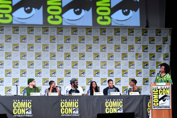 2019 Comic-Con International - 'Black Lightning' Special Video Presentation And Q&A [technology,event,stage equipment,competition event,championship,fiction,competition,games,nafessa williams,cress williams,karama horne,jordan calloway,christine adams,q a,l-r,san diego convention center,special video presentation,comic-con international]
