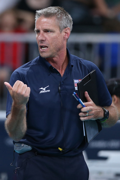 Karch Kiraly The United States assistant coach Karch Kiraly gestures in the Women's Volleyball Preliminary match between the United States and Brazil on Day 3 of the London 2012 Olympic Games at Earls Court on July 30, 2012 in London, England.