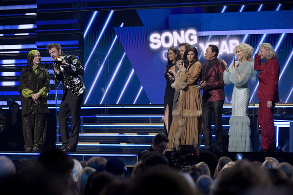62nd Annual GRAMMY Awards - Show [bad guy,song of the year,performance,event,stage,product,stage equipment,public event,performing arts,crowd,convention,audience,billie eilish,finneas oconnell,l-r,california,los angeles,staples center,show,annual grammy awards,philip sweet,grammy awards,concert,photograph,grammy award for song of the year,image,staples center,bad guy,bad guy]