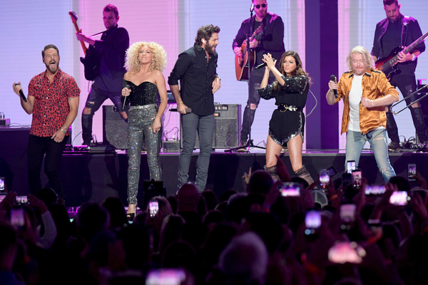 2019 CMT Music Awards - Show [performance,entertainment,event,performing arts,concert,purple,stage,pink,public event,music,jimi westbrook,karen fairchild,philip sweet,kimberly schlapman,thomas rhett,l-r,nashville,tennessee,show,cmt music awards]