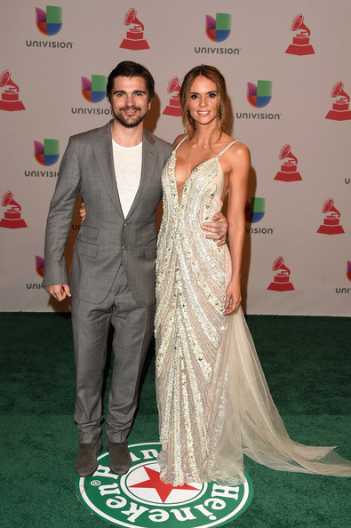 Green Carpet Arrivals at the Latin Grammy Awards  — Part 2 [red carpet,carpet,formal wear,dress,flooring,event,gown,fashion,fashion design,premiere,arrivals,juanes,karen martinez,latin grammy awards,las vegas,nevada,mgm grand garden arena,l]