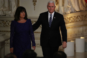 Karen Pence Trump And Japanese Prime Minister Abe Hold Joint Press Conference At Mar-a-Lago