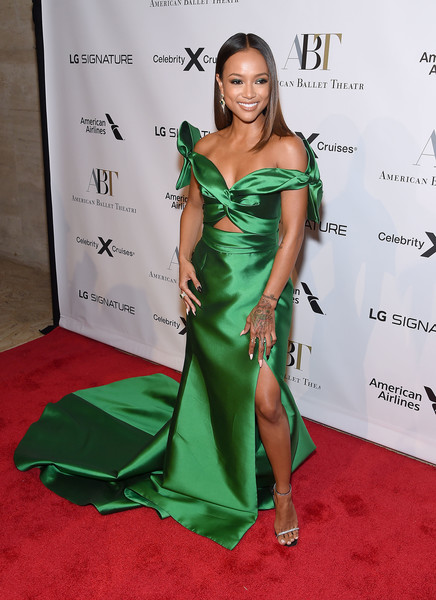 American Ballet Theatre 2019 Fall Gala [carpet,clothing,red carpet,shoulder,dress,green,flooring,fashion model,hairstyle,joint,american ballet theatre 2019 fall gala,david h. koch theater,new york city,lincoln center,karrueche tran]