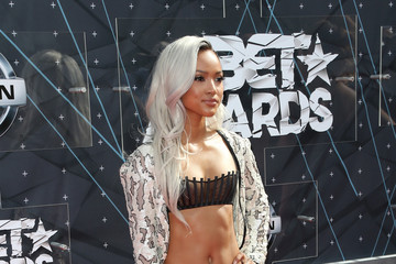 Karrueche Tran Celebs Arrive at the 2015 BET Awards