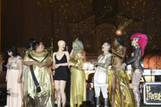 Muses Silvia Galeano, Ashley Brown, Melanie Gaydos, Alexandra Merino, Lala Park, Josephine Scott and Malice on stage at Kat Von D Beauty 10th Anniversary Party at Vibiana Cathedral on May 10, 2018 in Los Angeles, California.