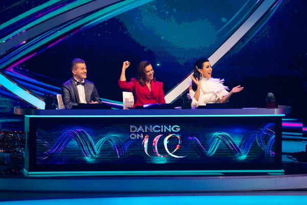 """Dancing On Ice"" Finals In Cologne [dancing on ice,television show,neon,visual effect lighting,display device,performance,games,event,leisure,talent show,stage,nightclub,judith williams,daniel weiss,katarina witt,l-r,cologne,germany,finals,finals]"