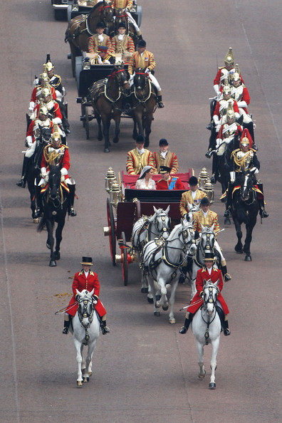 Best of the Royal Wedding [royal wedding,people,horse,marching,grenadier,crowd,troop,uniform,team,event,horse harness,duke,best,marriage,approach,cambridge,prince william,london,trh,carriage procession]