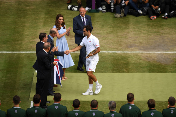 Day Thirteen: The Championships - Wimbledon 2019 [mens singles,sport venue,championship,tennis,competition event,games,crowd,player,team,event,sports,roger federer,novak djokovic,prince edward,hands,wimbledon,switzerland,championships,final,the championships]