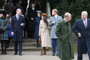 Kate Middleton Prince Philip Members of the Royal Family Attend St Mary Magdalene Church in Sandringham