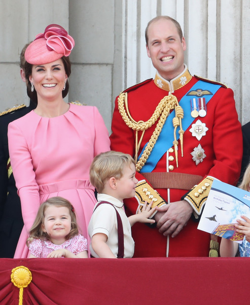 Trooping the Colour 2017 [trooping the colour,outerwear,tradition,product,costume,family,prince william,george,catherine,l-r,duchess,cambridge,balcony,princess charlotte,parade]