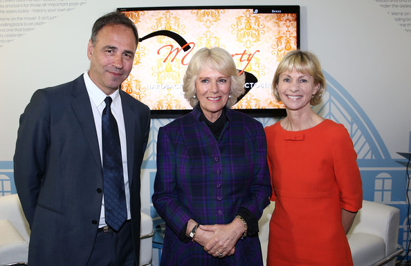 The London Book Fair [event,vernissage,suit,smile,family,formal wear,art,anthony horowitz,camilla duchess of cornwall,kate mosse,london,england,earls court,the duchess of cornwall,visits,the london book fair,visit]
