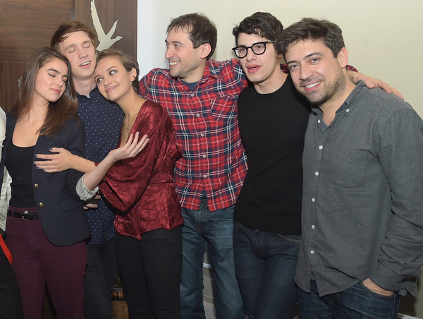 """GREY GOOSE Blue Door Hosts """"Me And Earl And The Dying Girl"""" Party At Sundance - 2015 Park City [me and earl and the dying girl,people,social group,event,fun,friendship,design,plaid,smile,party,pattern,alfonso gomez-rejon,thomas mann,jesse andrews,olivia cooke,l-r,park city,grey goose,party,sundance - 2015]"""