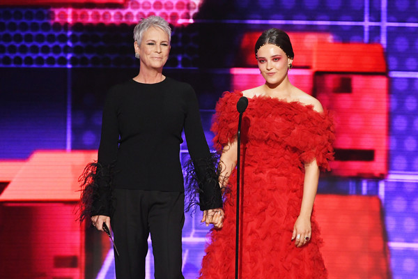 2019 American Music Awards - Fixed Show [fashion,performance,fashion design,event,haute couture,public event,stage,performing arts,fashion show,dress,katherine langford,jamie lee curtis,american music awards,l-r,california,los angeles,microsoft theater,show]
