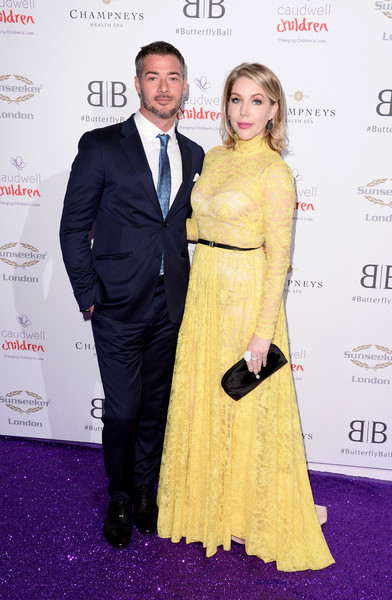 The Butterfly Ball 2019 - Arrivals [yellow,dress,carpet,shoulder,premiere,fashion,event,red carpet,formal wear,award,arrivals,butterfly ball,london,england,grosvenor house hotel,bobby kootstra,katherine ryan]