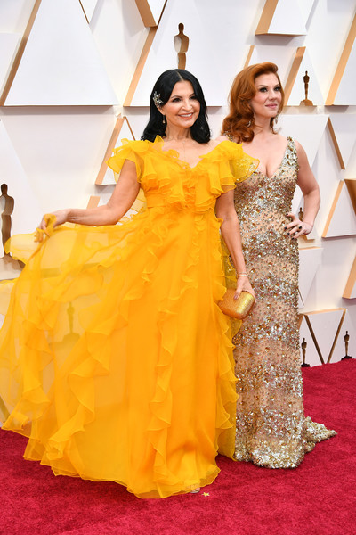 92nd Annual Academy Awards - Arrivals [dress,clothing,red carpet,gown,carpet,yellow,shoulder,flooring,fashion model,formal wear,arrivals,stephanie kurtzuba,kathrine narducci,l-r,hollywood,california,highland,92nd annual academy awards,kathrine narducci,stephanie kurtzuba,hollywood highland,getty images,photography,image,stock photography,photograph,royalty-free]