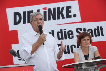 Katja Kipping Political Parties Hold Final Rallies Before Berlin State Elections