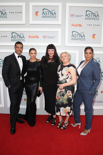 Arrivals at the ASTRA Awards [tv show,red carpet,carpet,event,premiere,flooring,arrivals,cast,danielle cormack,katrina milosevic,robbie magasiva,shareena clanton,l-r,wentworth,astra awards]