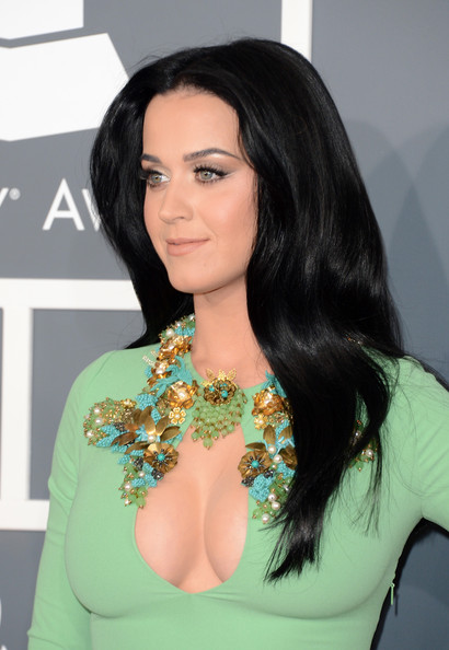 The 55th Annual GRAMMY Awards - Arrivals [hair,face,hairstyle,black hair,long hair,beauty,eyebrow,shoulder,lip,chin,arrivals,katy perry,staples center,los angeles,california,55th annual grammy awards]