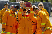 CFA representatives take a selfie for the free Fight On concert featuring Katy Perry, which was held for for firefighters and communities recently affected by the devastating bushfires in Victoria.
