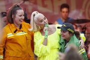 Katy Perry invites CFA representatives up on stage as she performs on March 11, 2020 in Bright, Australia. The free Fight On concert was held for for firefighters and communities recently affected by the devastating bushfires in Victoria.